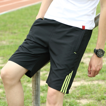 Summer big pants running pants shorts (Black green bar)