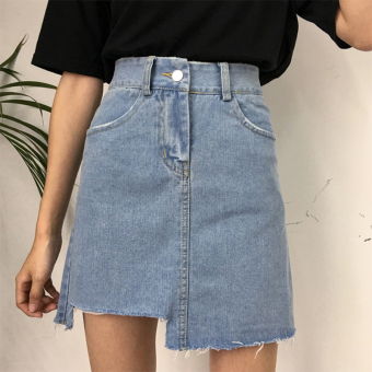 Summer Women's Korean-style waist does not rule denim skirts Slimming effect a word skirt light blue wild student skirt