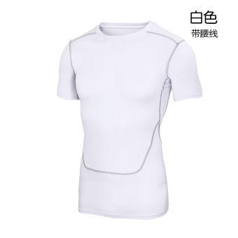 Tights workout clothes male spring and summer breathable quick drying sports t-shirt short sleeve stretch fitness basketball training jogging clothes (206 white)