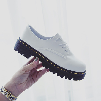 Ulzzang college style semi-high heeled thick bottomed small leather shoes autumn leather shoes (White)