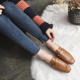Ulzzang Korean-style riveted female autumn shoes moccosins (Brown)