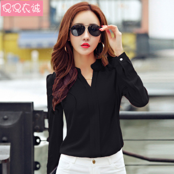 V-neck Slim fit ol shirt Women's Top (Black spot goods)