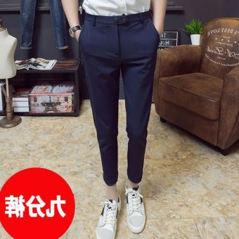 Versatile spring New style men's casual pants ankle-length pants (K17 pantyhose pants navy blue) (K17 pantyhose pants navy blue)