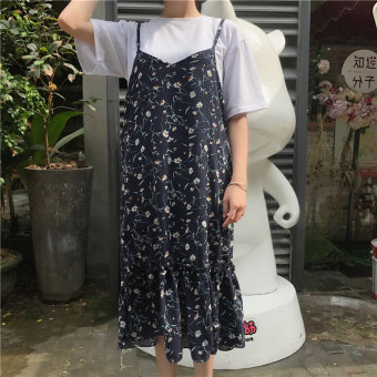 Women flounced mid-length slimming skirt New style chiffon dress (Navy blue) (Navy blue)