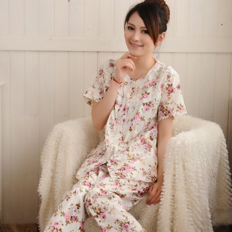 Women's Large-size Short Sleeve Pure Cotton Pajamas Set (Short-sleeved Rose Flower)