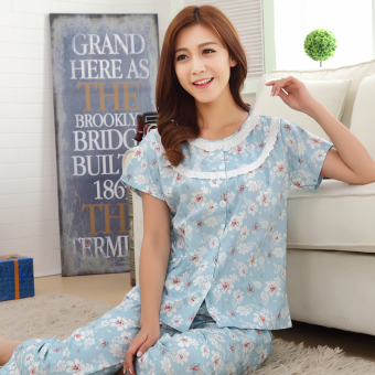 Women's Large-size Short Sleeve Pure Cotton Pajamas Set (Short-sleeved small white flower)