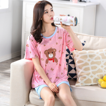Women's Large-size Short Sleeve Short Pants Pure Cotton Pajamas Set (Y5504)
