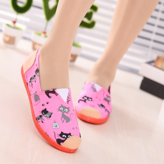 Women's Leisure Breathable Low-top Shallow Mouth Cloth Shoes (New style pink cat)