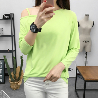 Women's Revealing Sling Cut Off Shoulder Boat Neck Long Sleeve Solid Color T-Shirt (3001 7 green)