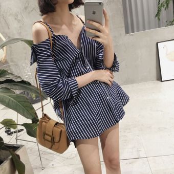 Women's Revealing Striped Boat Neck Off Shoulder Cami Strap Shirt (White of article)