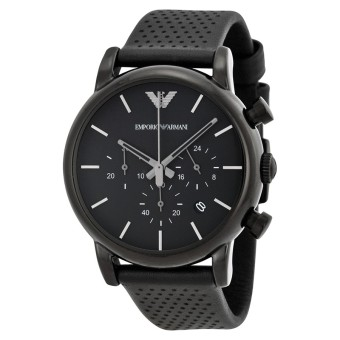 Emporio Armani AR1737 Classic Chronograph Black Dial Black Leather Men's Watch