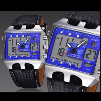 Sports Watches Men Analog Digital Quartz 3ATM Waterproof Dive Fashion Military Watch Relogio Male Clock Gifts(Blue)