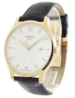 Tissot T-Classic Tradition Men's Brown Leather Strap Watch T063.610.36.037.00