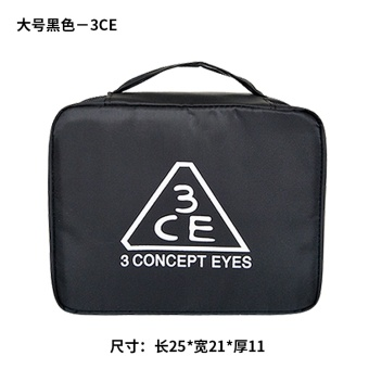New style 3CE makeup bag large capacity nylon wash bag square travel cosmetic storage bag finishing Portable Package