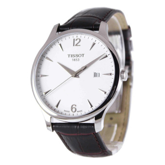 Tissot T-Classic Tradition Men's Brown Leather Strap Watch T063.610.16.037.00