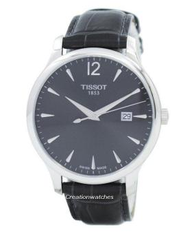 Tissot T-Classic Tradition Quartz Women's Leather Black Strap Watch T063.610.16.087.00