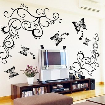 Butterfly and flower vine home decoration beautiful wall stickers sofa background wall sticker - Latest beautiful wall decoration ...