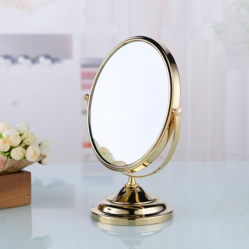 M0128G 8 Inch Brass Round Double Side Makeup Wall Mirror Gold Plated Golden