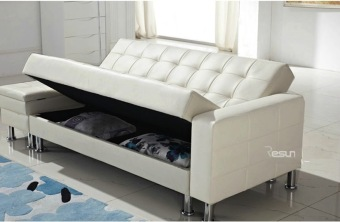 Pu sofa bed with double storage white colour lazada for White divan bed with storage