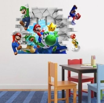 Super mario 3d wall stickers for kids room pvc wall decal for 3d home decoration games