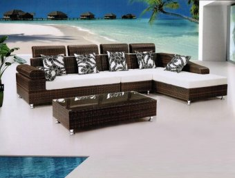 White Rattan with Navy Blue cushions Outdoor Sofa Set