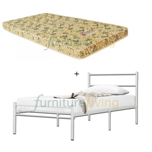 Furniture Living Metal Bedframe (Single) + Seahorse Foam Mattress 4inch
