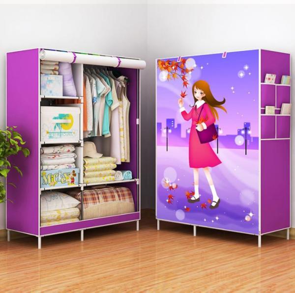 3D Painting Wardrobe Non-woven Fabric wardrobe storage closet hanging wardrobe reinforcement combination steel