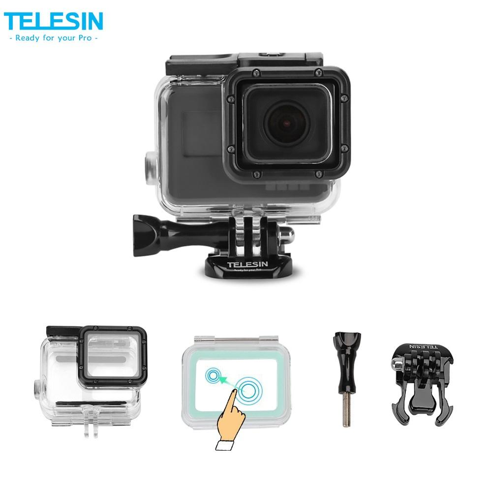 Telesin 45m Waterproof Housing + Touchable Backdoor Cover for GoPro Hero 7/6/5 Black Camera