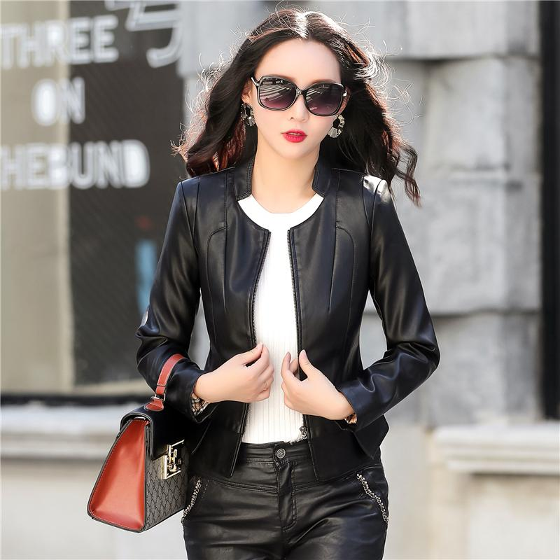 1383bf4cf0 Leather Clothes Female Short Slim Fit Coat 2019 New Style Spring And Autumn  Large Size Stand
