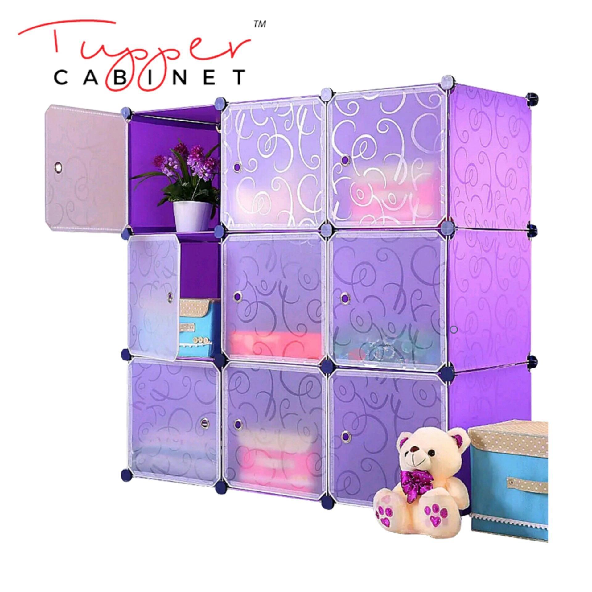 Tupper Cabinet Elegant Purple 9 Cubes Storage Cabinet Beauty Collection