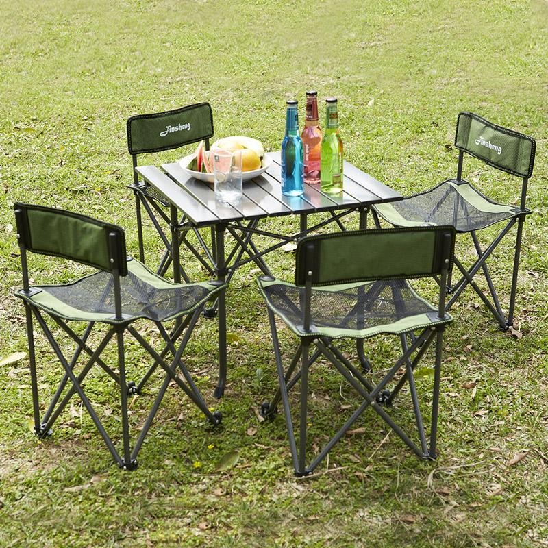 Shome nuo Outdoor Folding Tables And Chairs Combination Portable Five Pieces Set Barbecue Self-driving Travel Leisure Beach Table And Chair Set