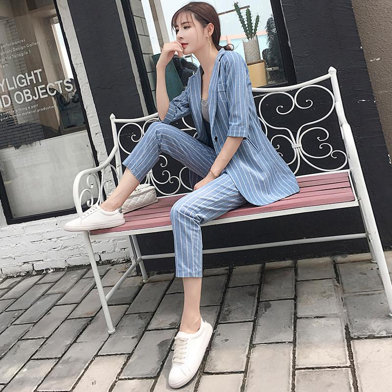 Flax Suit Womens Suit South Korea Debutante Graceful Chic Small Suit Coat Capri Pants England Two-Piece Set By Taobao Collection.
