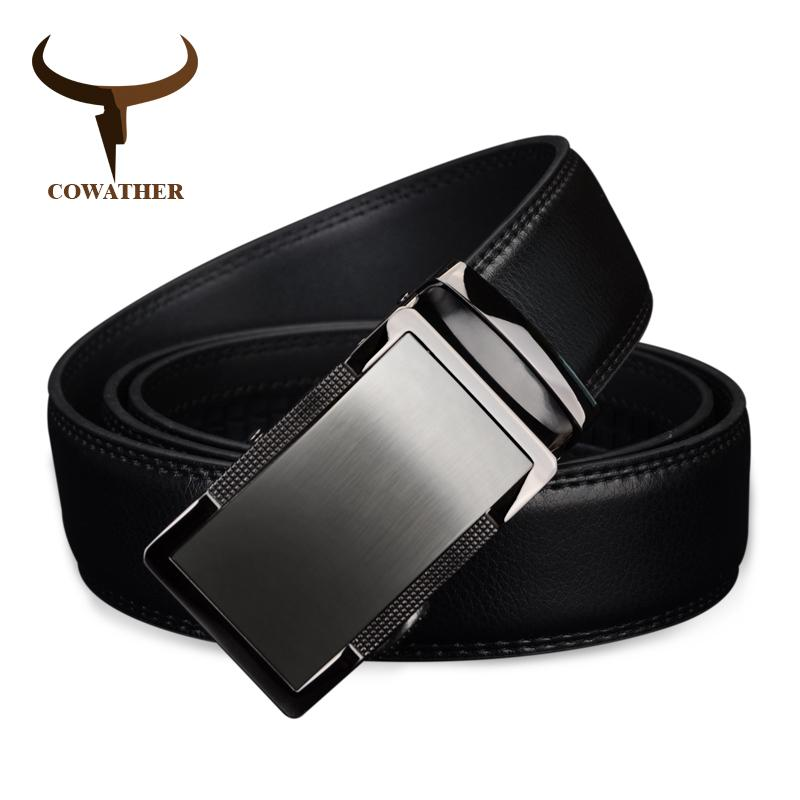 Buy Cowather Men 100 Cow Genuine Leather Belt Automatic Business Alloy Buckle Belt Best Full Grain Waist Belts Strap Extra Large 110 130Cm 1 25 Wide Intl Cowather Original