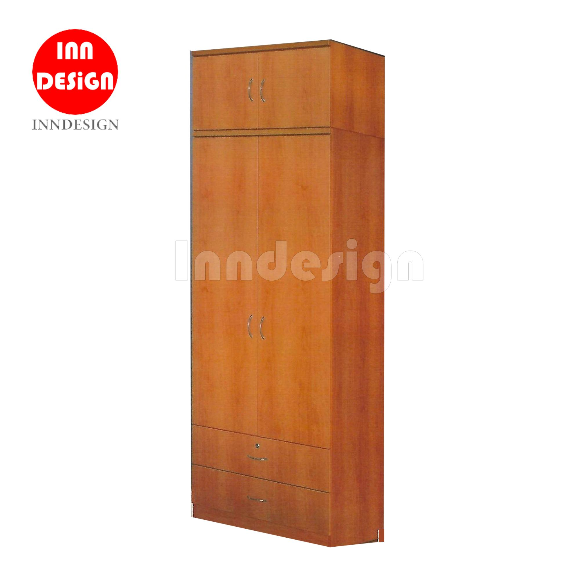 Victo 2 Doors Wardrobe with Top and Drawers