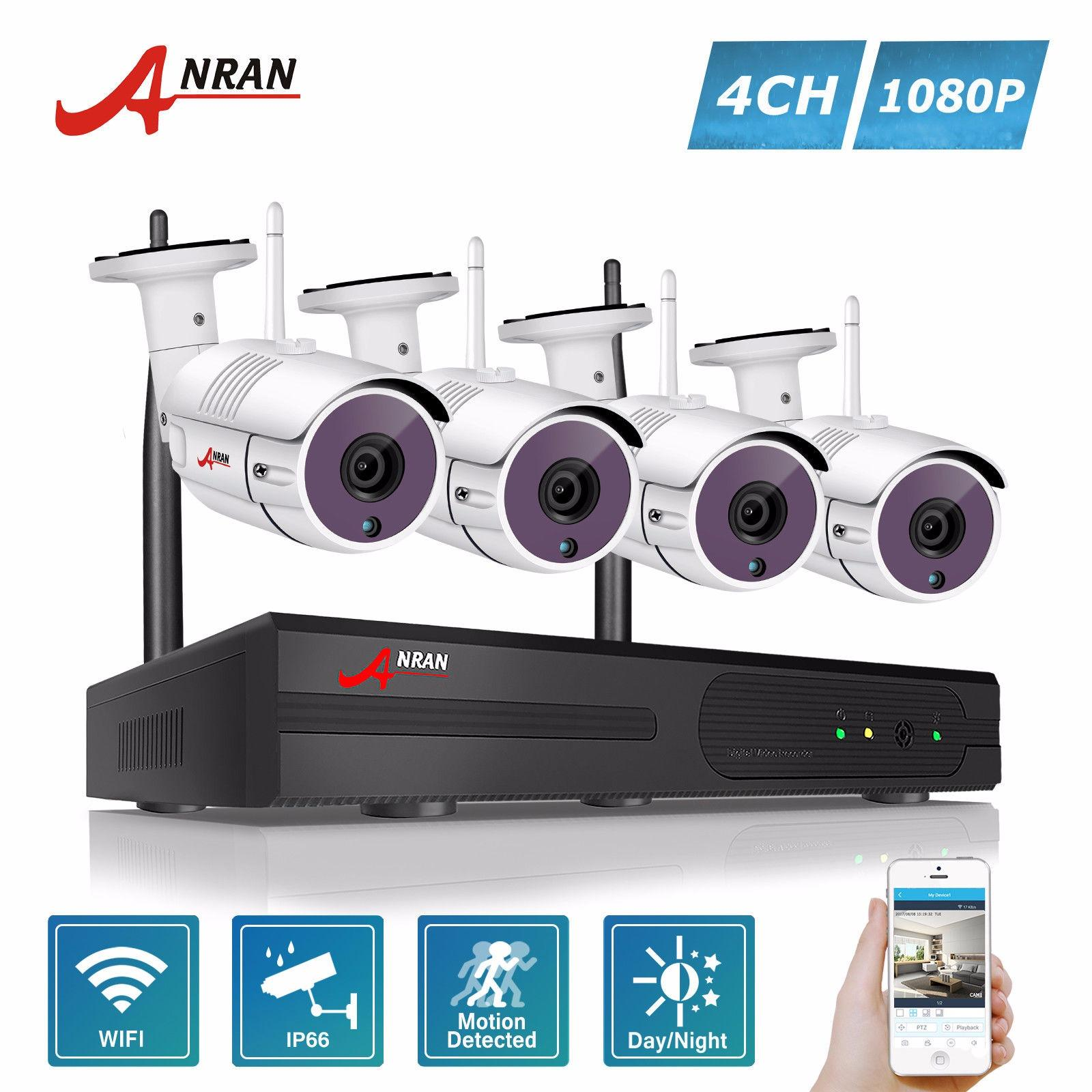 Best Rated Anran 4Ch Wireless Nvr Security Cctv System P2P 1080P Hd Outdoor Vandalproof Wfi Ip Camera