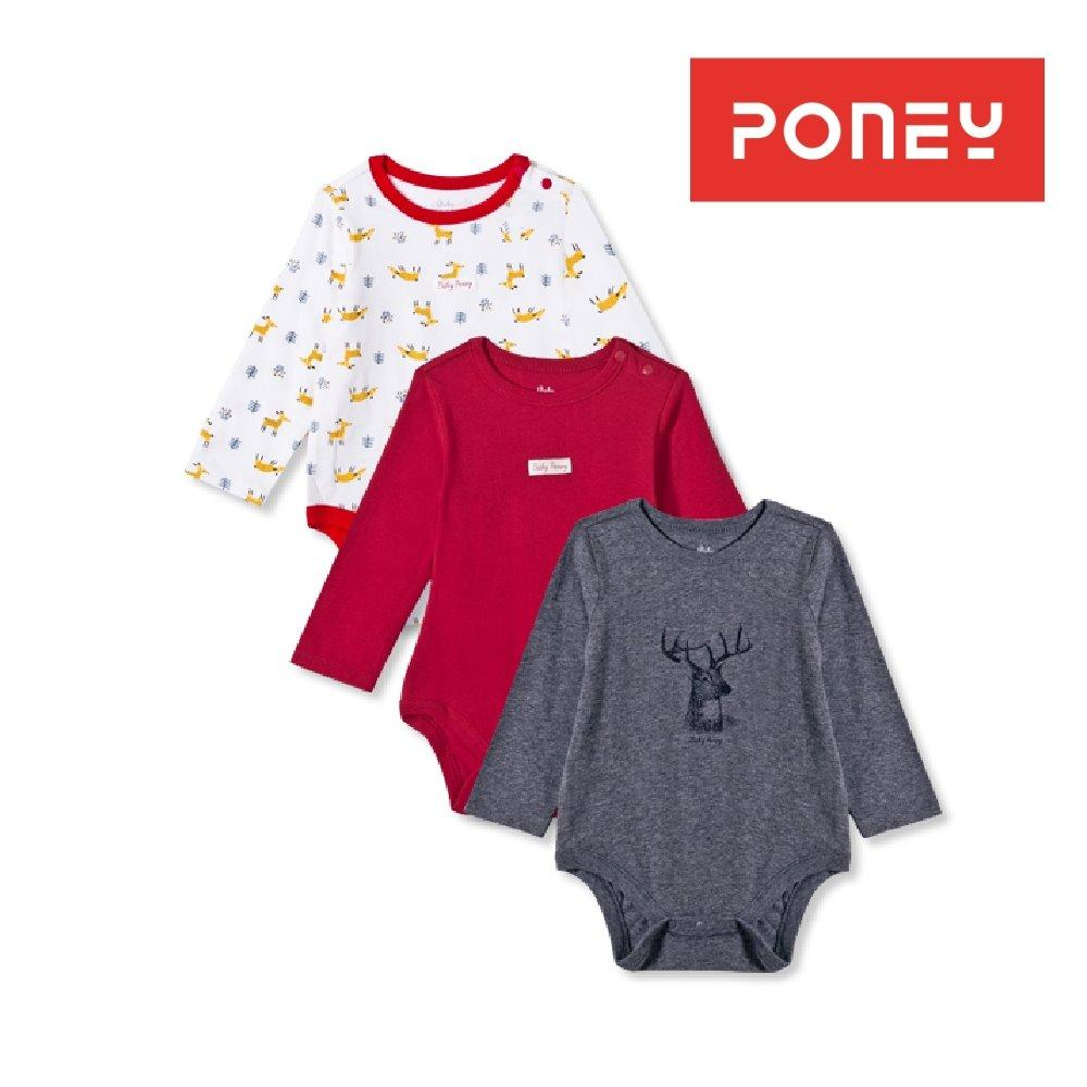 Discount Poney Babies Essentials 3 Pack Long Sleeves Bodysuit White Navy Red