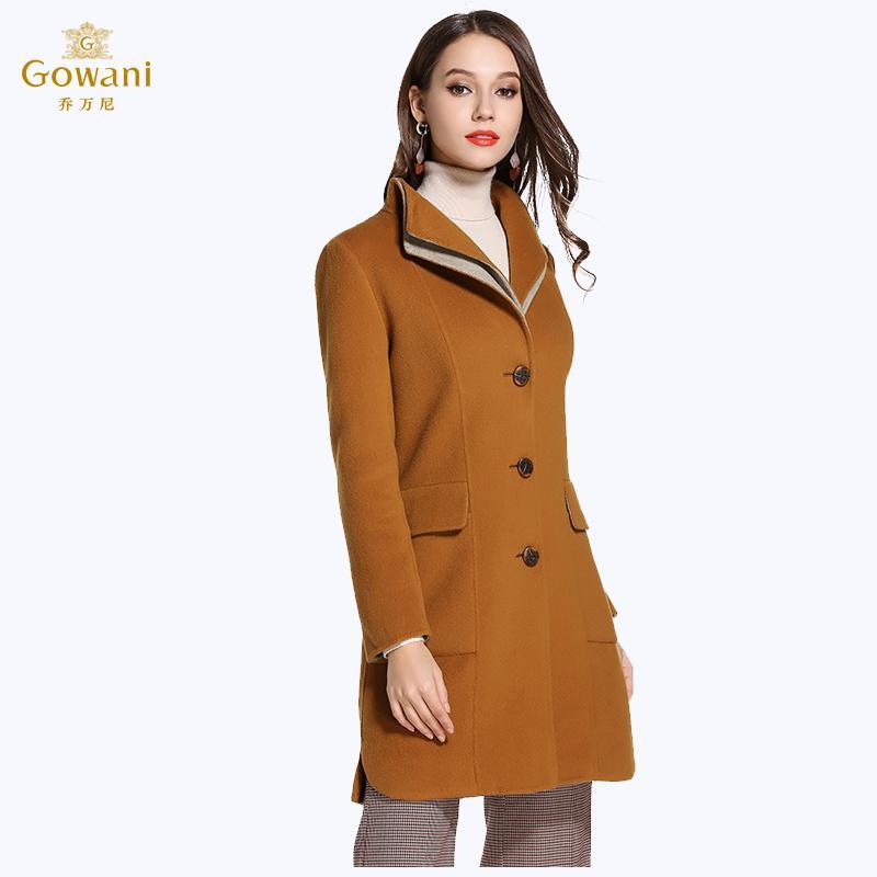 0eb44c1b363 Gowani Winter Women's Dress Woolen Overcoat Fashion Single Breasted Slim  Fit Mid-length Simple Double-Sided Wool Coat