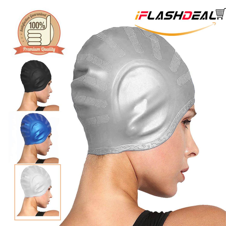 1edb728e8765 iFlashDeal Swim Caps Swimming Cap Silicone Swim Hat For Adults Long Hair  Comfortable Fit Swim Cap