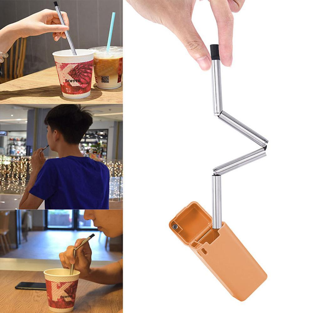 Niceeshop Foldable Straw Collapsible Reusable Straw Stainless Portable Travel Outdoor Household By Nicee Shop.