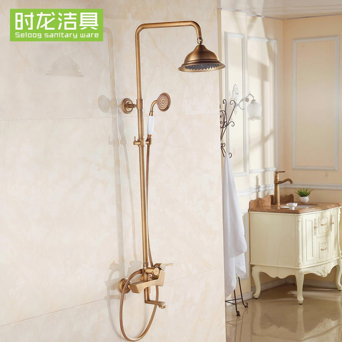 Seloog Vintage Shower Brass Shower Head Set Bathroom Hot/Cold Shower European Style