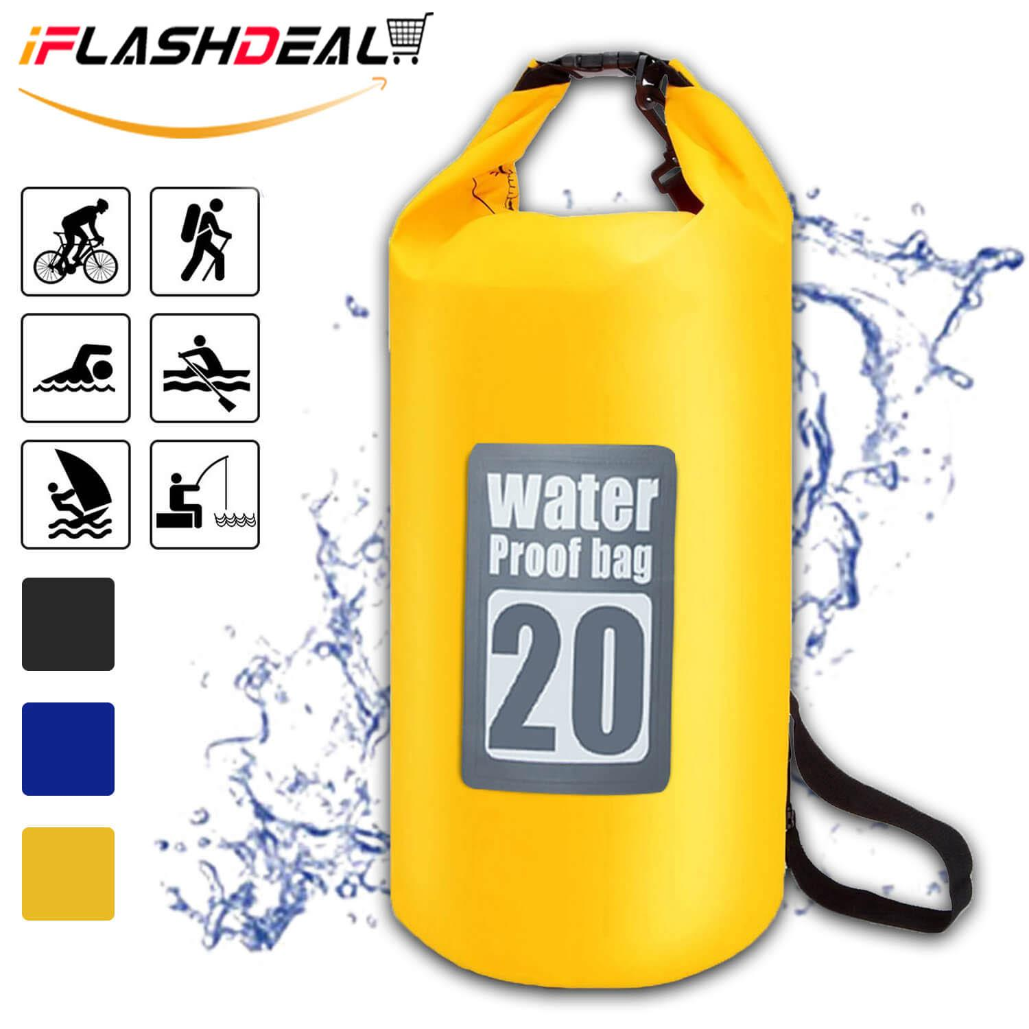 Iflashdeal Waterproof Roll Top Dry Bag Floating Dry Compression Sack Keeps Gear Dry For Kayaking, Canoeing, Beach, Rafting, Boating, Snowboarding, Hiking, Camping And Fishing 20l By Iflashdeal.