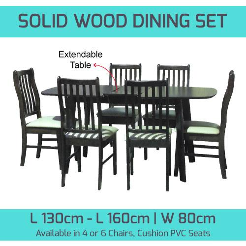 [A-STAR] Solid Wooden Dining set in walnut PVC cushion seats