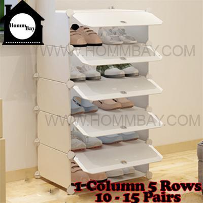 DIY Shoe Shoes Rack Storage Drawers Multi Purpose Modular Organizer Plastic Cabinets I WW Series I 1 Column 5 Rows