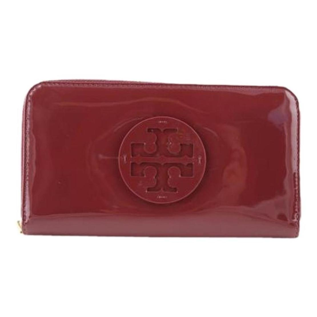 Price Compare Tory Burch Patent Leather Continental Wallet Equestrian Orange