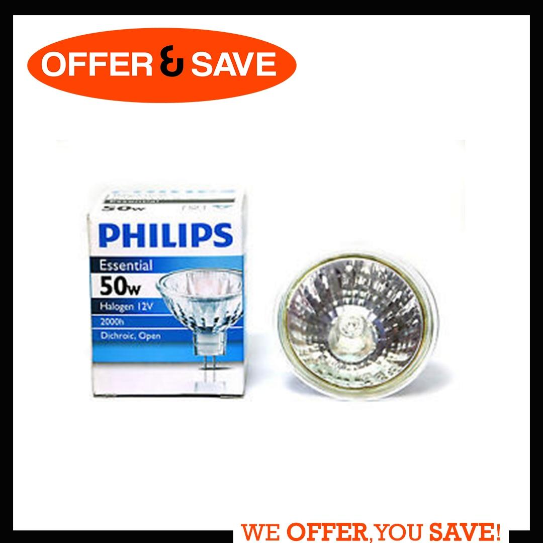 Philips Essential 50w Hologen 12V Dichroic Reflector GU5.3 Singapore