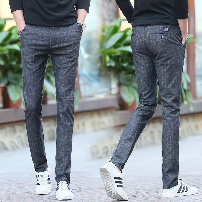 129029b0 2019 New Style Spring Men's Trousers Plaid Casual Pants Male Slim Fit  Straight Cotton Linen Elasticity Pants Korean Style Trend Trousers