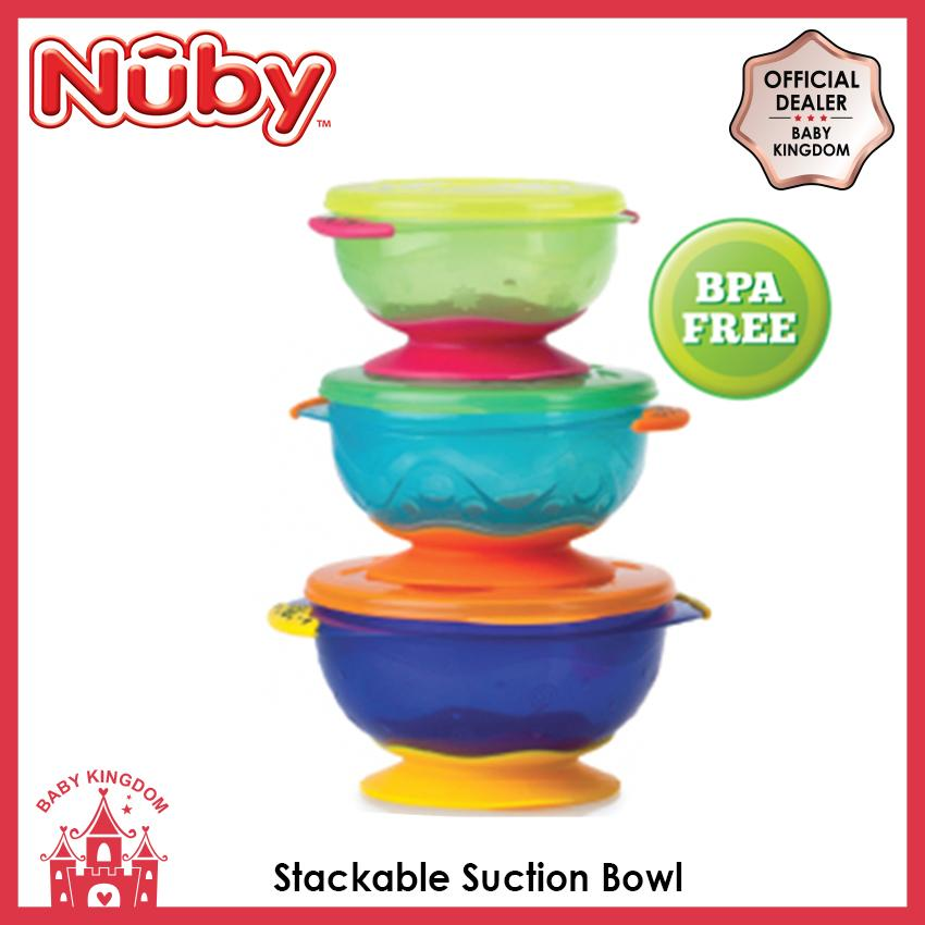 Nuby Stackable Suction Bowl W/lid 3 Pcs By Baby Kingdom.