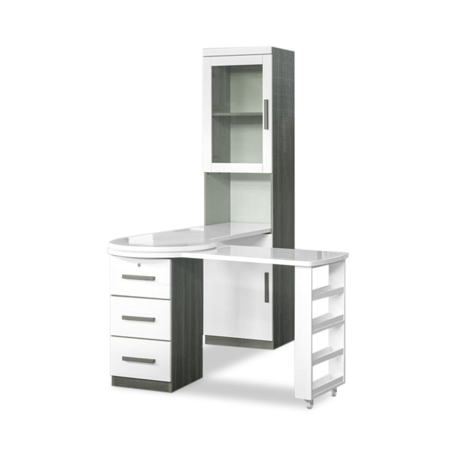 Jules L-Shaped Extension Study Table With Book Cabinet (FREE DELIVERY)(FREE ASSEMBLY)