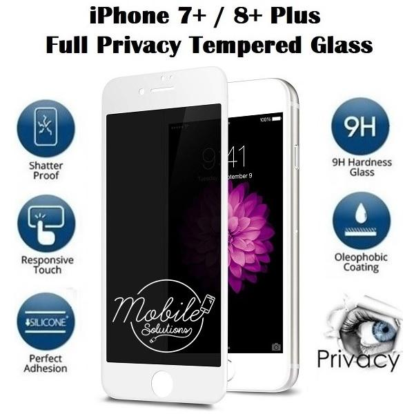 iPhone 7+ / 8+ Plus Full Coverage Tempered Glass Screen Protector (Privacy 180 Degree) (White)