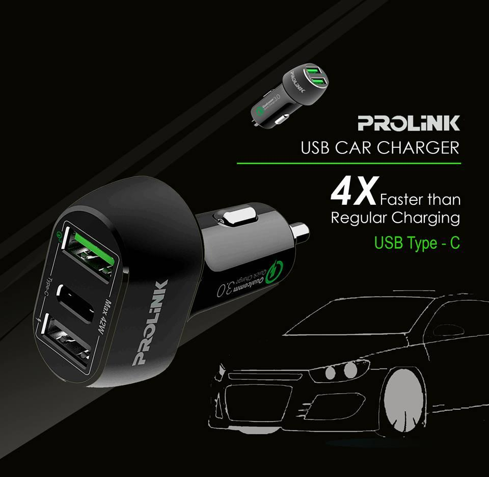 [supersale] Prolink® Pcc34201 42w 3-Port Car Charger With Intellisense /1x Type C/ 1x Qc3.0/ 1x Usb Led Compatible With Samsung/ Lenovo/ Google Pixel/ Iphone/ Huawei Mate 20 Pro Etc By Prolink.